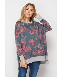 New Arrival! Comfy and Cozy Floral Print Sweatshirt by HoneyMe