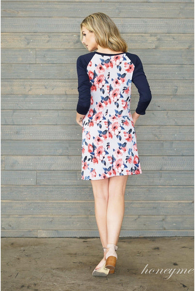 Floral Print Dress with Navy 3/4 Sleeves - Essentially Elegant