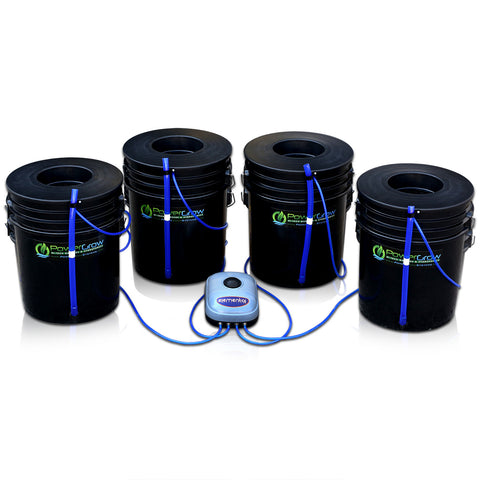 "PowerGrow Deep Water Culture 4 Bucket System - 6"" for Small/Medium Plants"