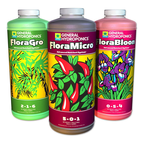 General Hydroponics 3-Part Flora Series Liquid Nutrients (Quart)