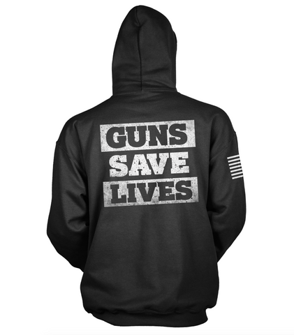 GUNS SAVE LIVES - MENS HOODIE