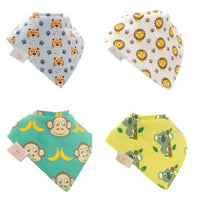 Ziggle Bibs 4 Pack - Stripey Cats Safari