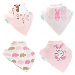 Ziggle Bibs 4 Pack - Cute Pinks