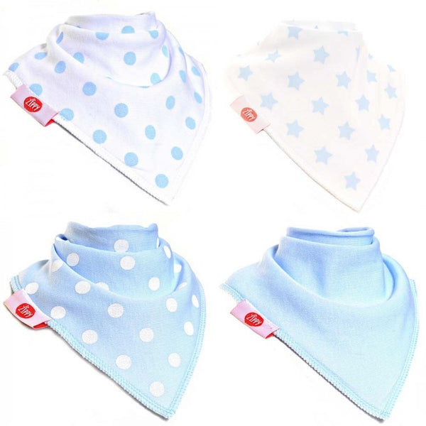 Ziggle Bibs 4 Pack - Blue and White