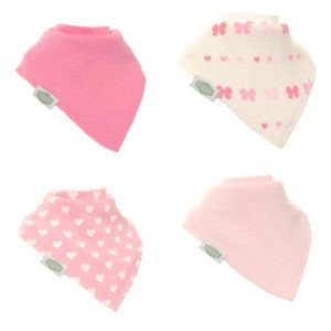 Ziggle Bibs 4 Pack - Hearts & Bows
