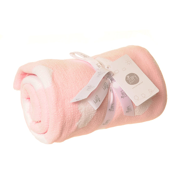 Ziggle Pink & White Chenille Blanket