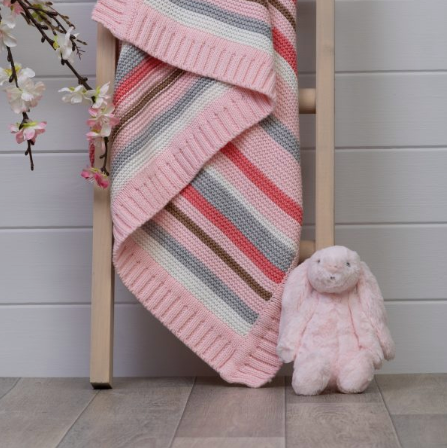 Ziggle Pink & Grey Stripes Blanket