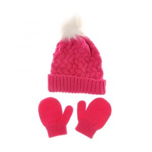 Ziggle Pink Bobble Hat & Mittens Set