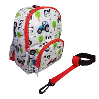 Playzeez Toddler Backpack W/ Rein | Red Tractor