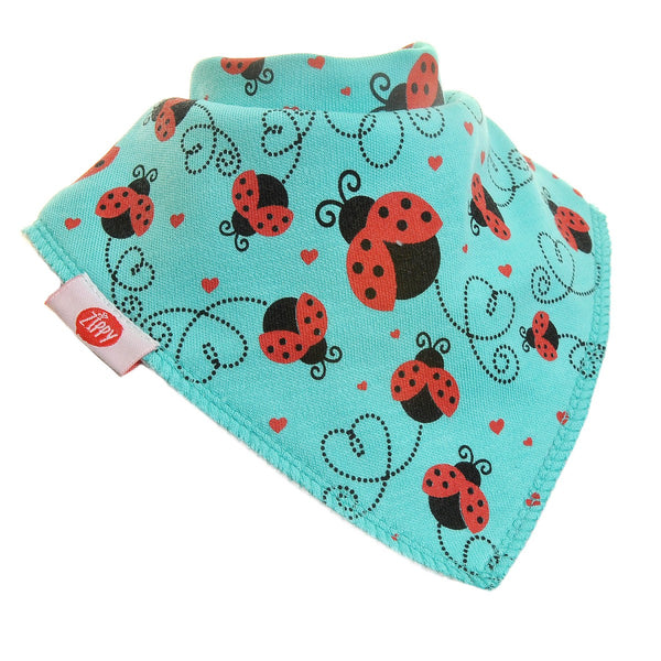Ziggle Single Bib - Turquoise Ladybirds