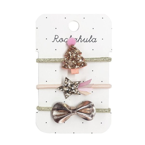 Rockahula Rose Gold Xmas Tree Ponies | 3 Pack