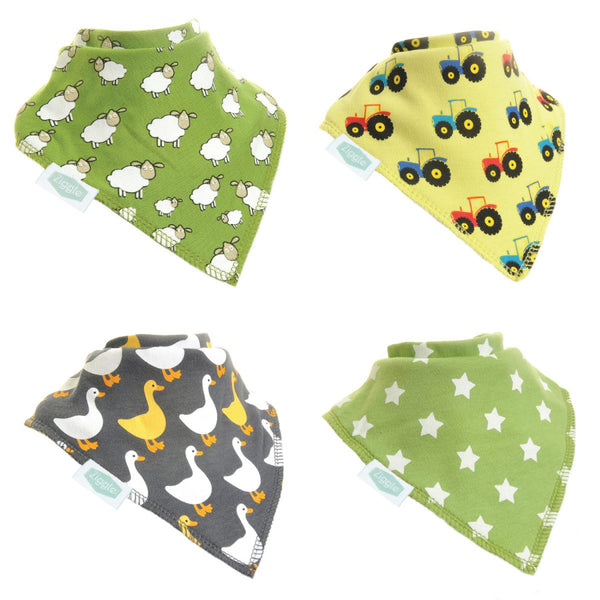Ziggle Bibs 4 Pack - Farmyard Fun