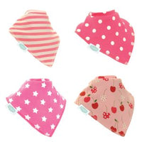 Ziggle Bibs 4 Pack - Pretty Pinks