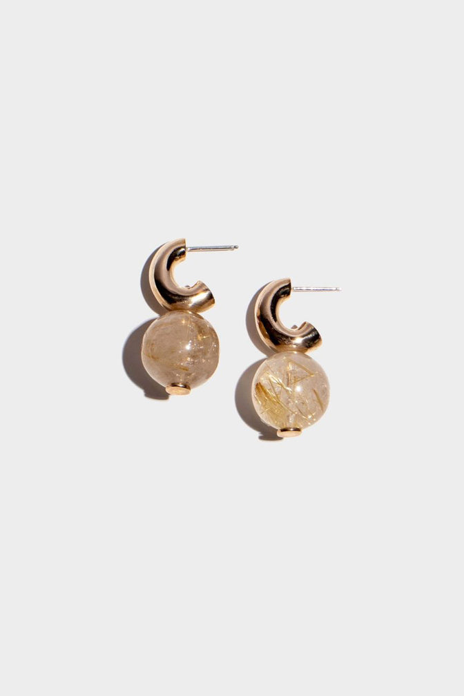 MINI C-CURVE HOOP EARRINGS | RUTILATED QUARTZ STONE