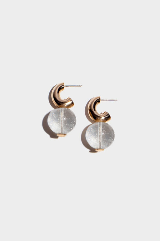 MINI C-CURVE HOOP EARRINGS | TRANSLUCENT QUARTZ
