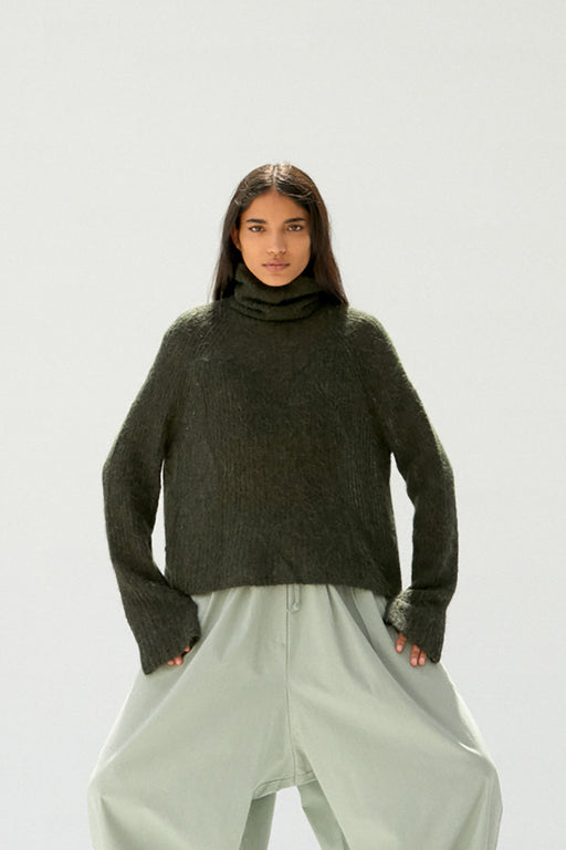 Soft Alpaca Turtleneck Sweater | Green