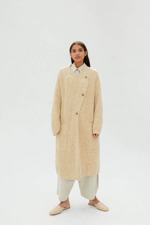 Mónica Cordera | Chunky Soft Wool Knit Coat | Natural | Hazel & Rose