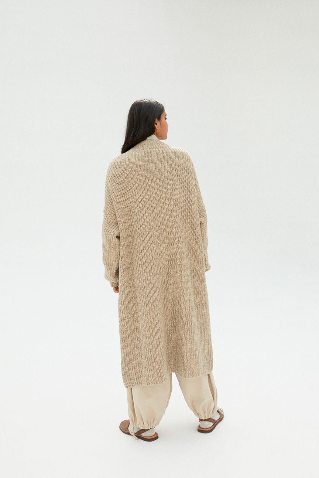 Mónica Cordera | Chunky Soft Wool Knit Coat | Taupe | Hazel & Rose