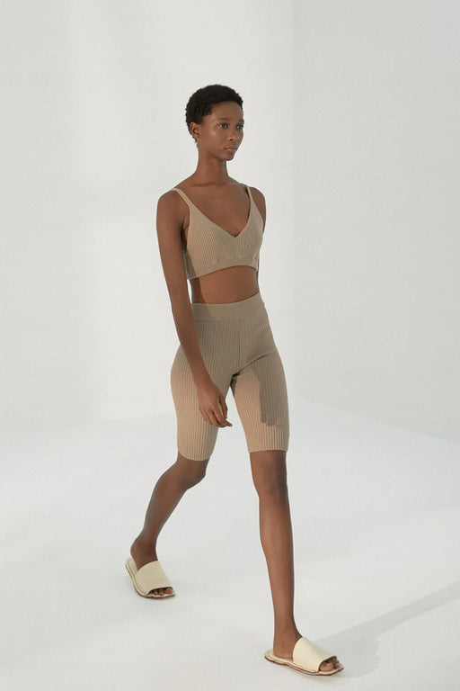 Mónica Cordera | Short Ribbed Pants | Taupe | Hazel & Rose | Minneapolis