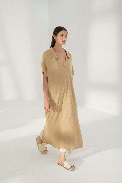 Mónica Cordera | Knit Linen Polo Dress | Amber | Hazel & Rose | Minneapolis