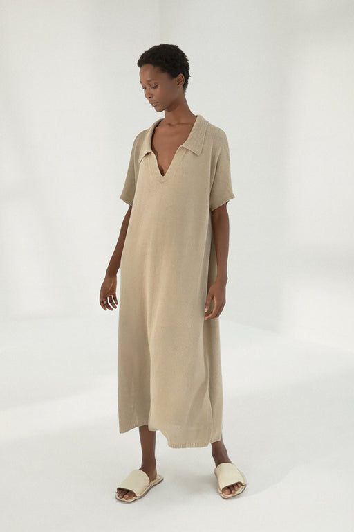 Mónica Cordera | Knit Linen Polo Dress | Smoked Green | Hazel & Rose | Minneapolis