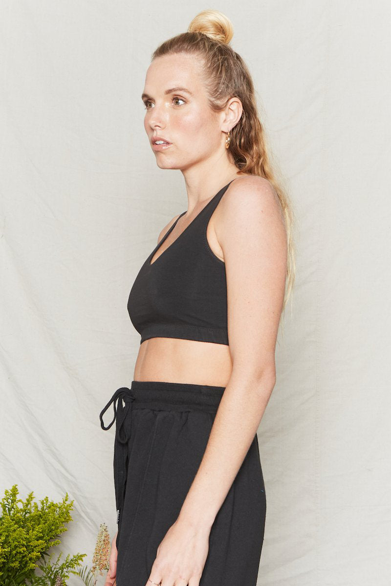 Back Beat Co. | Organic Cotton Reversible Crop Bra | Black | Hazel & Rose