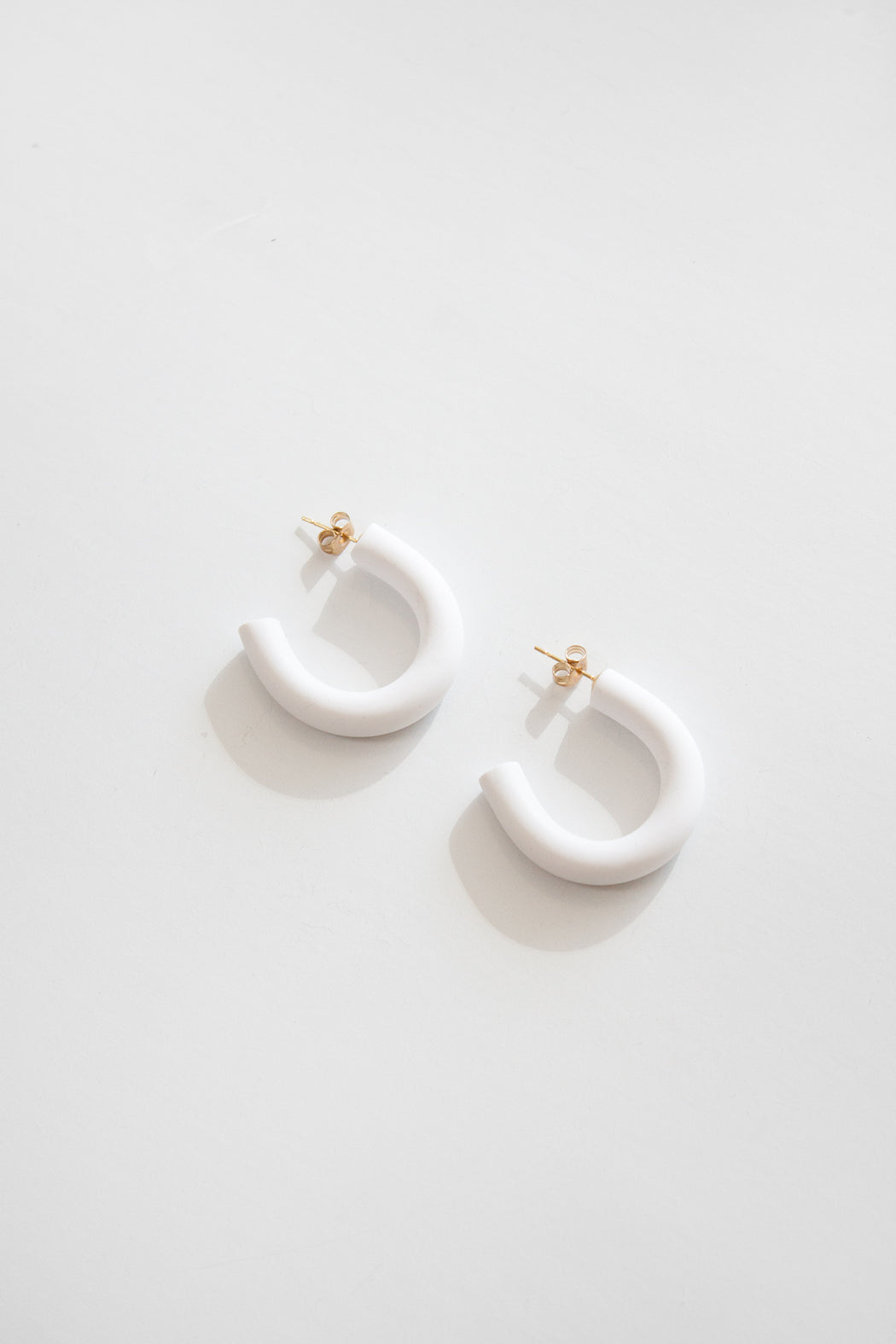 Mini Circlet Earrings | White