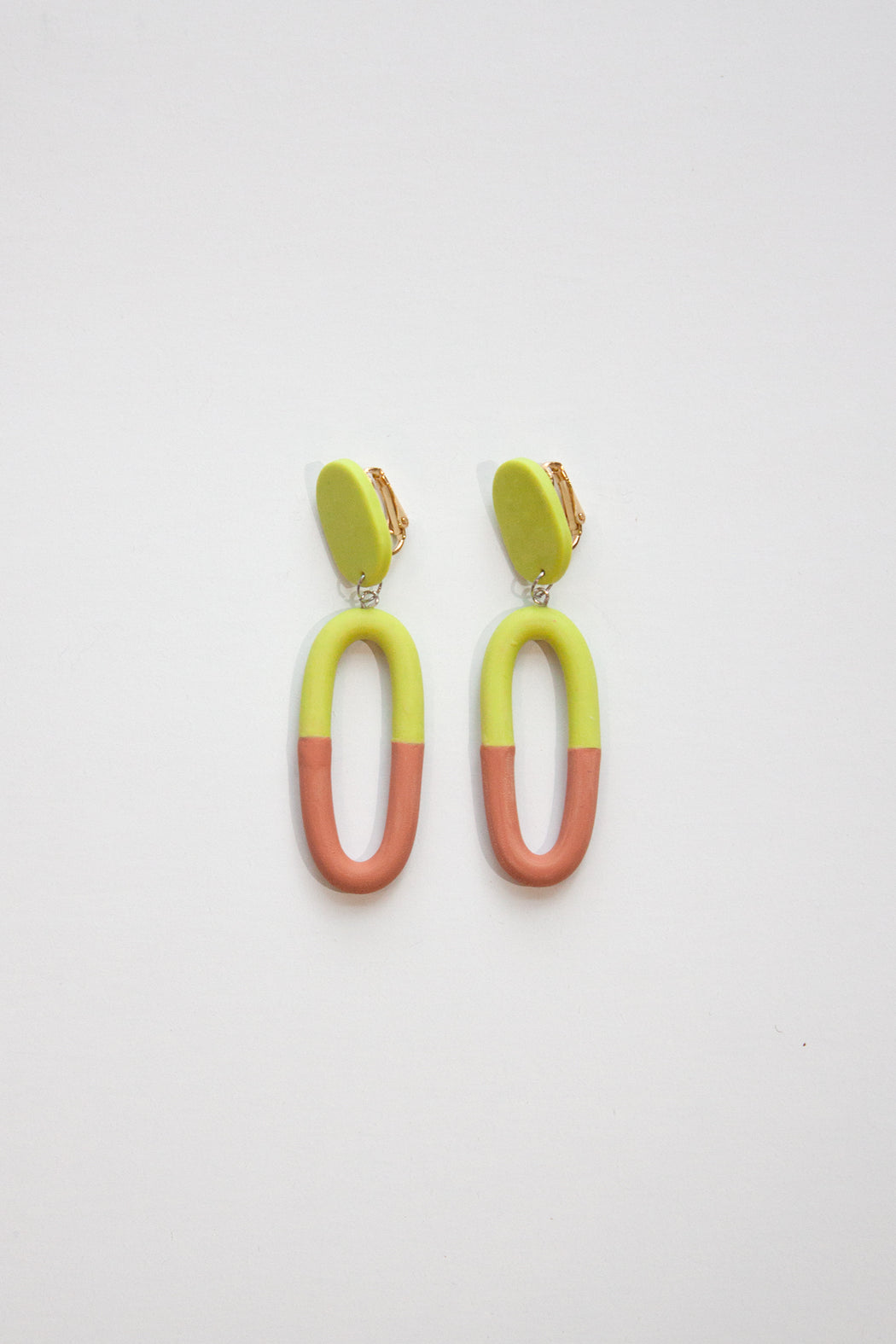 THE DAPHNE CLIP~ON | RUST & CHARTREUSE