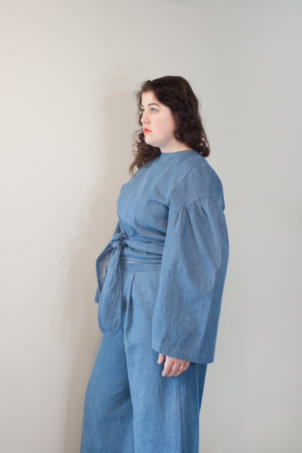 Claudius Reversible Wrap Top / Denim