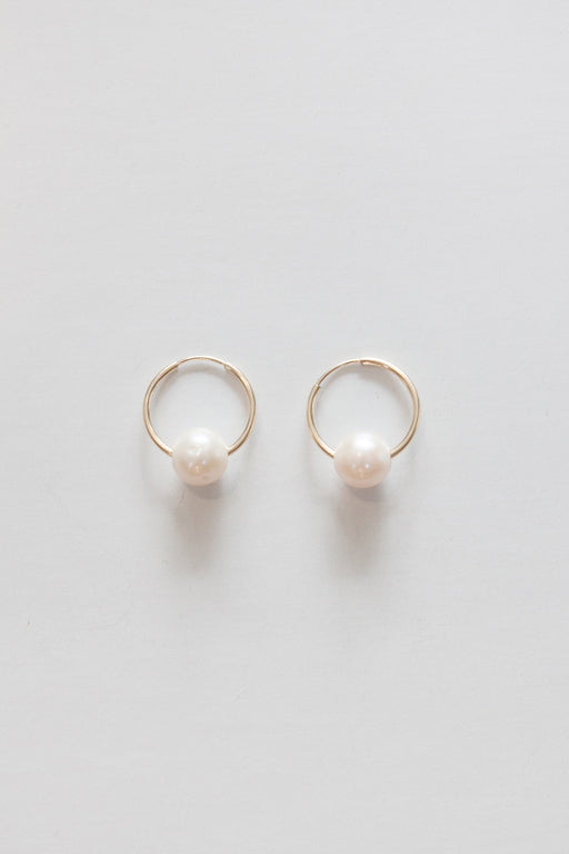 Golden Rule | Fresh Water Pearl Hoop Earring | Ivory | Hazel & Rose | Minneapolis