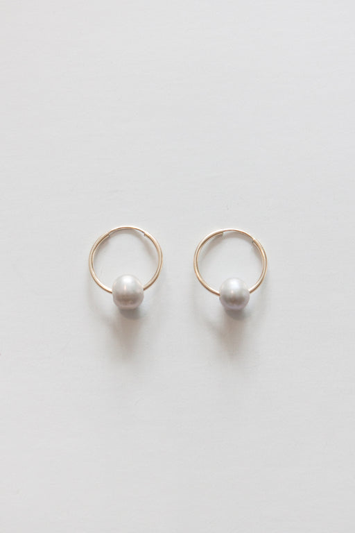 Golden Rule | Fresh Water Pearl Hoop Earring | Grey | Hazel & Rose | Minneapolis
