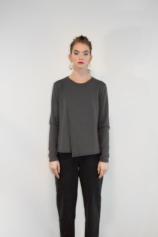 Joeleen Torvick | Easy Side Split Tee | Slate | Hazel & Rose | Minneap…