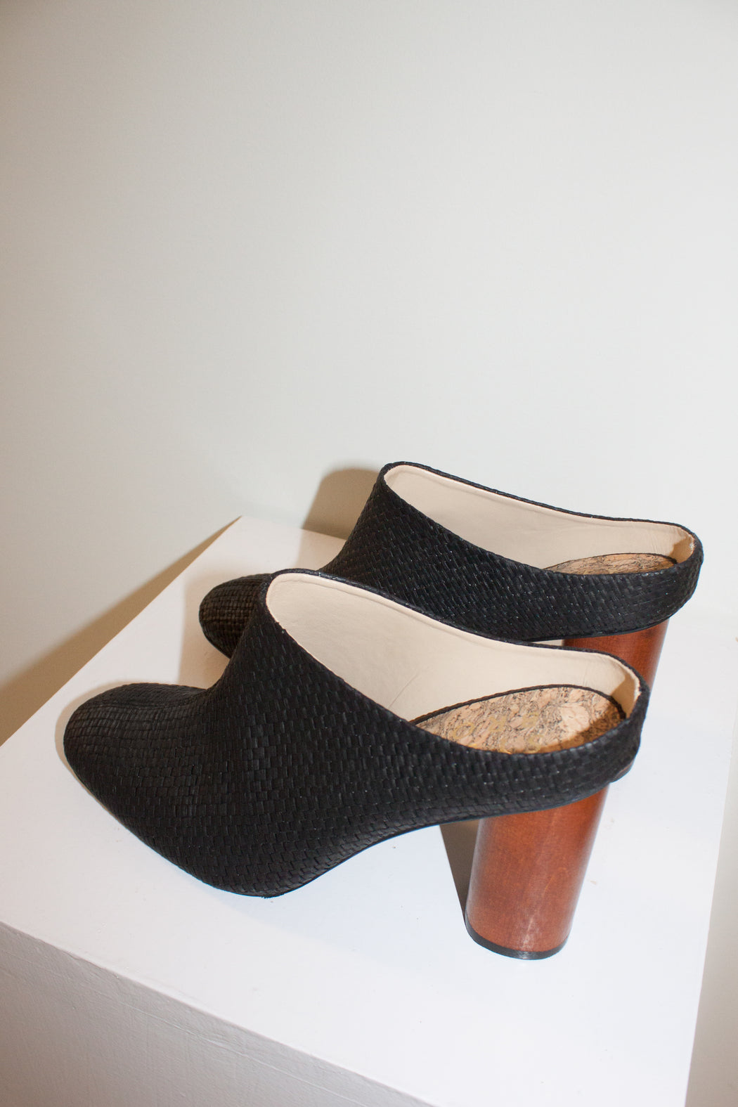 Sydney Brown Vegan Footwear | High Mule | Black Raffia | Hazel & Rose