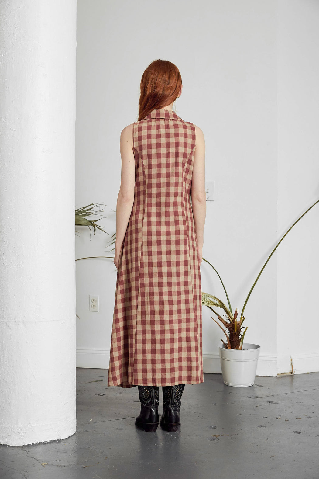Emily Dress | Brick + Tan Check