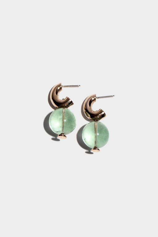 MINI C-CURVE HOOP EARRINGS | GREEN FLOURITE STONE