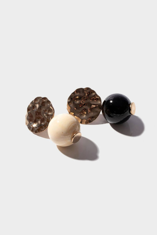 MINI TEXTURED GLOBE EARRINGS | NOIR & CREME