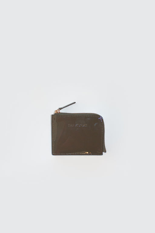 The Stowe Leather Goods | Card Wallet Olive Patent Leather