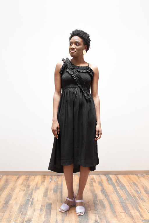 Wray Fair Trade Fashion | Mina Dress Black Raw Silk | Hazel & Rose