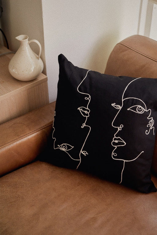 Faces Embroidery Pillow
