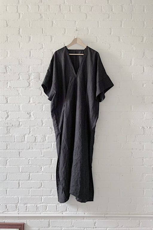 LINEN THROW ON DRESS - BLACK