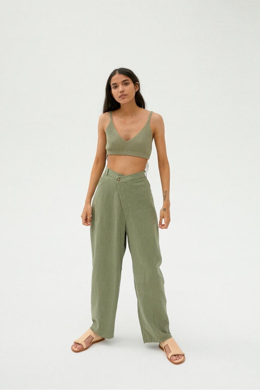 Mónica Cordera | CROSSED RAMIE PANTS | SAGE GREEN | Hazel & Rose | Minneapolis