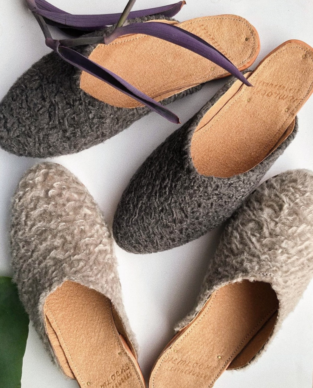 Shearling Slide | Dark Grey