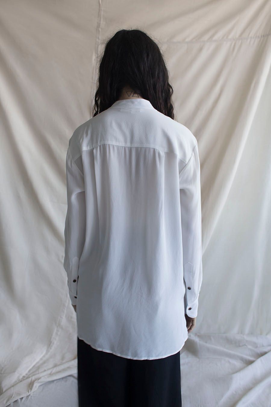 Banded Collar Shirt | Bone