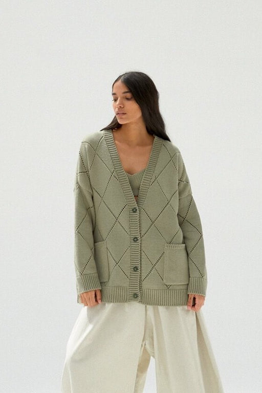 Mónica Cordera |  RHOMBUS CARDIGAN | SAGE GREEN | Hazel & Rose | Minneapolis