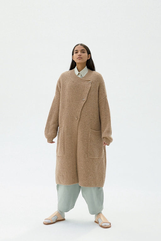 Chunky Soft Wool Knit Coat | Camel