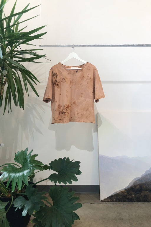 EASY CROPPED TEE | DYED RAW SIENNA