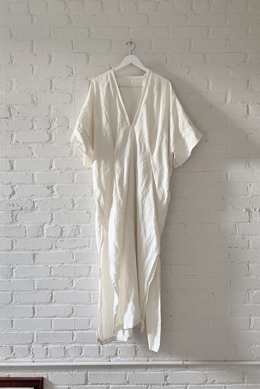 LINEN THROW ON DRESS - SHELL WHITE