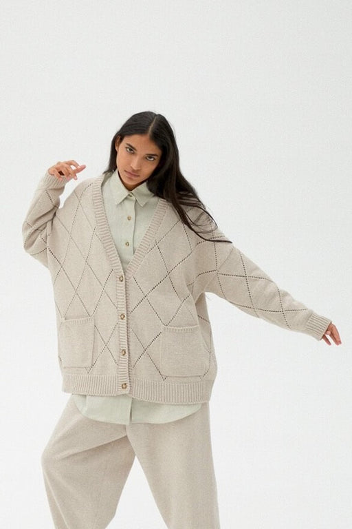 Mónica Cordera |  RHOMBUS CARDIGAN | PALE LINEN | Hazel & Rose | Minneapolis