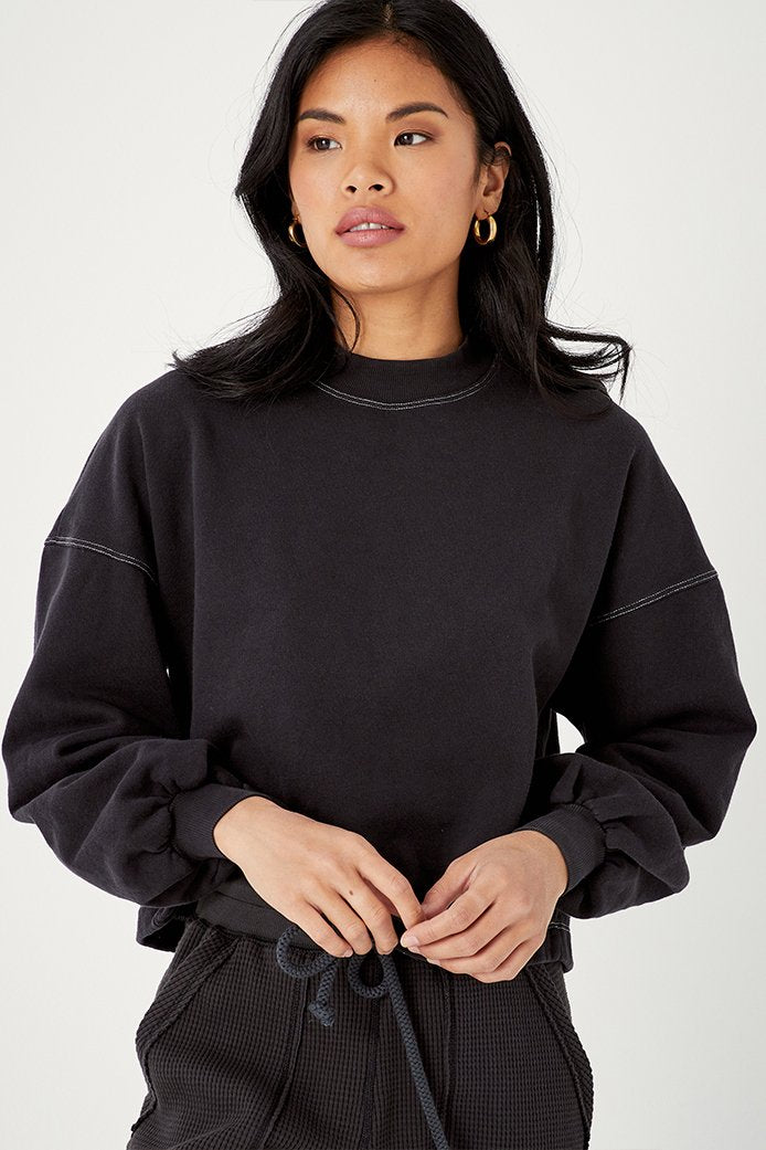 Back beat Co. | Recycled Cotton Puff Sleeve Sweatshirt | Vintage Black | Hazel & Rose