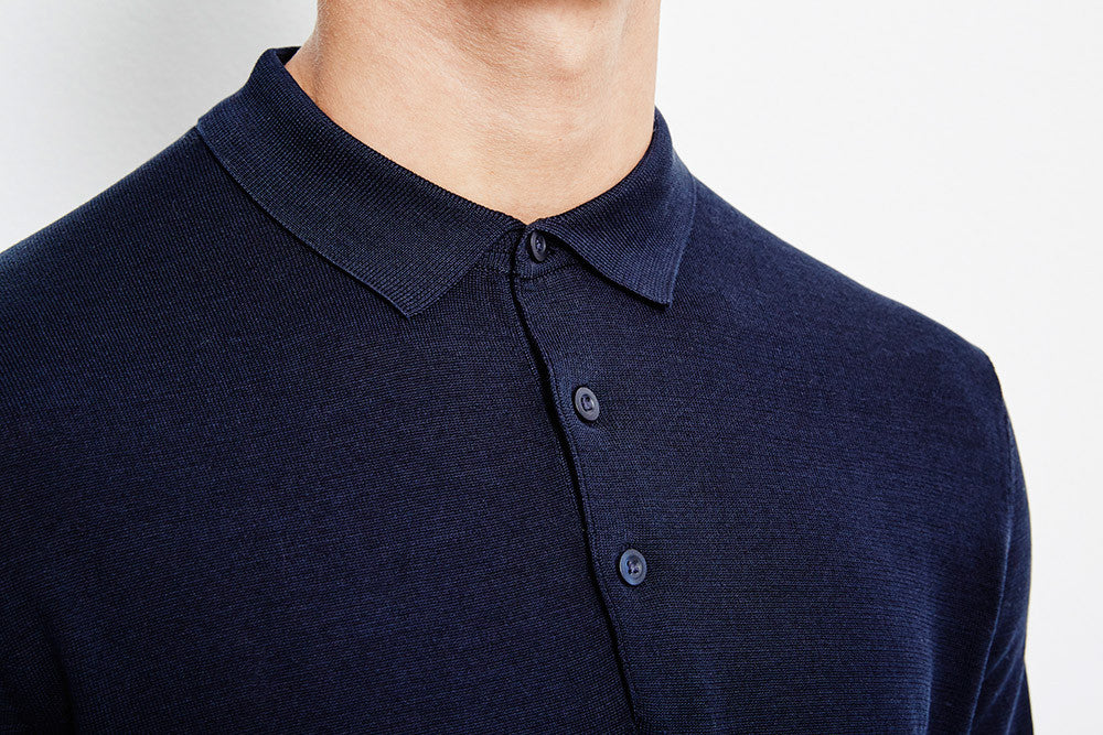 Selected SHDParker Knitted Polo Dark Sapphire T-shirts Selected - hoohastore.com